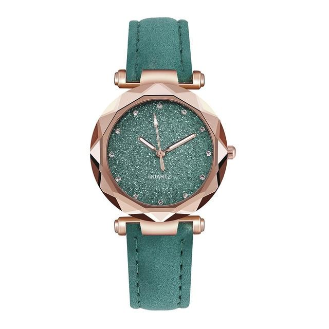 Casual Women Romantic Starry Sky Wrist Watch Leather Rhinestone Designer Ladies Clock Simple Dress Gfit Montre Femme - GoJohnny437