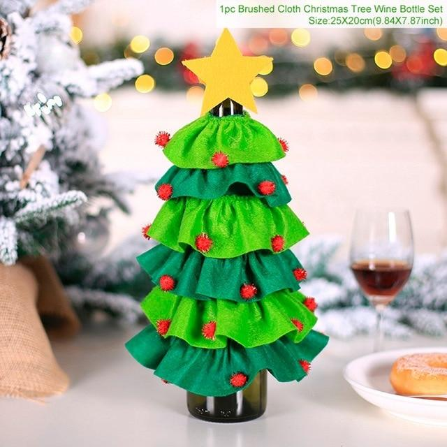 Christmas Wine Bottle Cover Merry Christmas Decor For Home Natal Noel Christmas Table Decor Xmas Gift Happy New Year - GoJohnny437