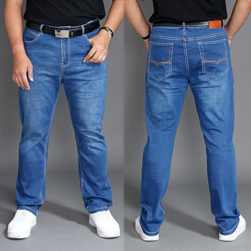 Classic Regular Fit Thin Stretch Jean Pants High Waisted Men 2020 Denim Man Plus Size 40 42 44 46 Mens Trousers - GoJohnny437