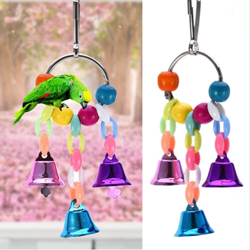 Colorful Beads Bells Parrots Toys Bird Accessories For Pet Toy Swing Stand Budgie Parakeet Cage Pet Bird Parrot Chew Swing Toys - GoJohnny437