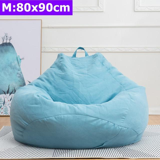 Comfortable Lazy Sofas Cover Chairs without Filler Linen Cloth Lounger Seat Bean Bag Pouf Puff Couch Tatami Living Room S/M/L - GoJohnny437