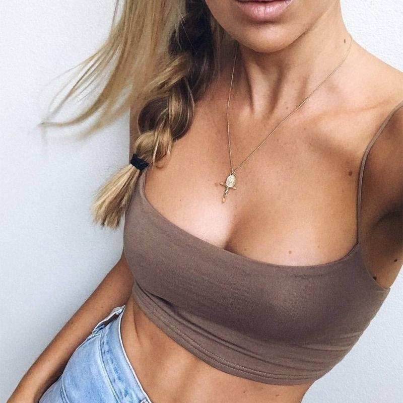 Crop Top Solid Summer Camis Women Casual Tank Tops Vest Sleeveless - GoJohnny437