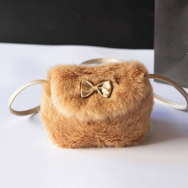 Cute Kids Children Girls Mini Bowknot Crossbody Bags Soft Fur Handbags Bag Gift Purse Crossbody Bag Plush Backpacks Coin Purse - GoJohnny437