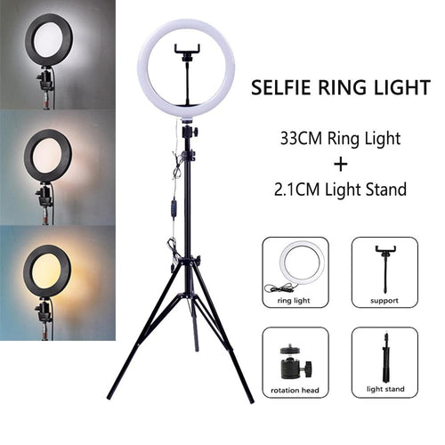Dimmable LED Selfie Ring Light with Tripod USB Selfie Light Ring Lamp Big Photography Ringlight with Stand for Cell Phone Studio - GoJohnny437