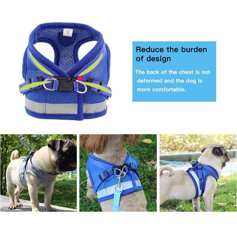 Dog Harness with Leash Summer Pet Adjustable Reflective Vest Walking Lead for Puppy Polyester Mesh Harness for Small Medium Dog - GoJohnny437