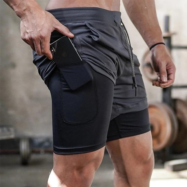 Double layer Jogger Shorts Men 2 in 1 Short Pants Gyms Fitness Built-in pocket Bermuda Quick Dry Beach Shorts Male Sweatpants - GoJohnny437
