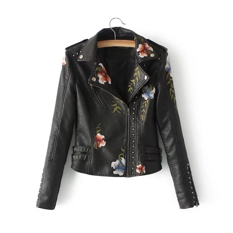 Embroidery faux leather PU Jacket Women Fashion Motorcycle Jacket Black faux leather coats Outerwear - GoJohnny437
