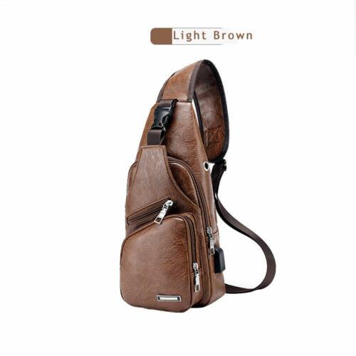 Fashion Men's Leather Sling Pack Chest Shoulder Crossbody Bag Biker Satchel Men Briefcases - GoJohnny437