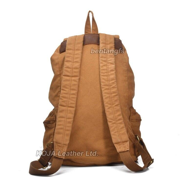 Fashion Vintage Leather military Canvas backpack Men's backpack school bag drawstring backpack rucksack - GoJohnny437