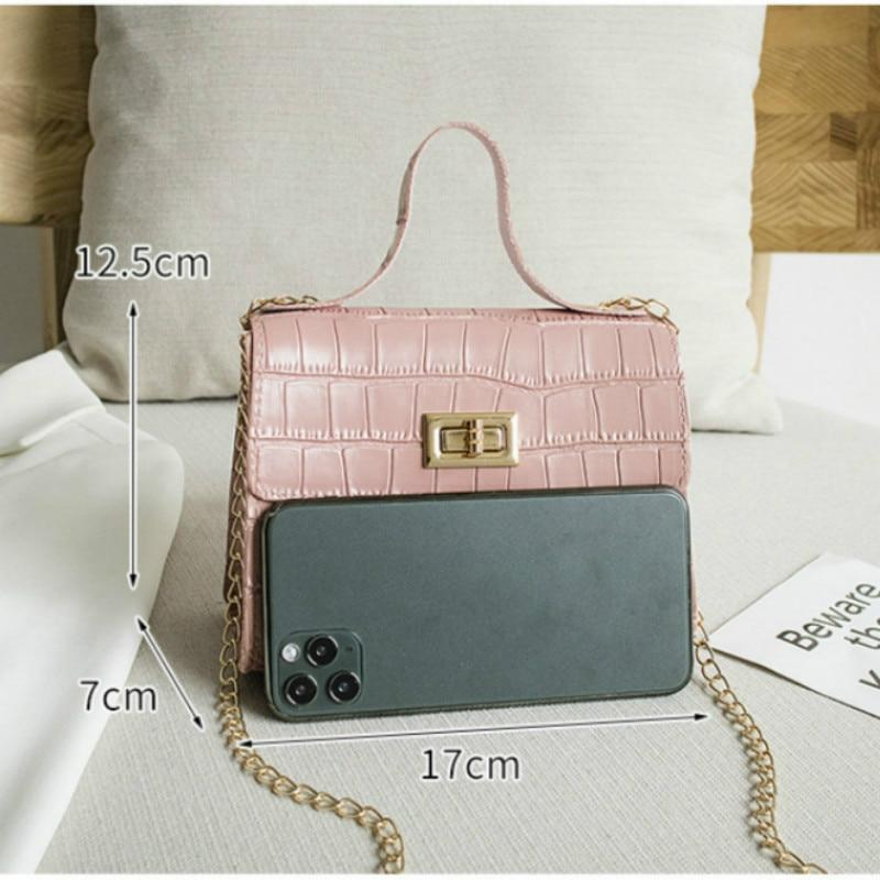 Fashion Women Bags 2020 Summer New Crocodile Pattern Handbag Shoulder Messenger Chain Lock Small Square Bag Wholesale - GoJohnny437