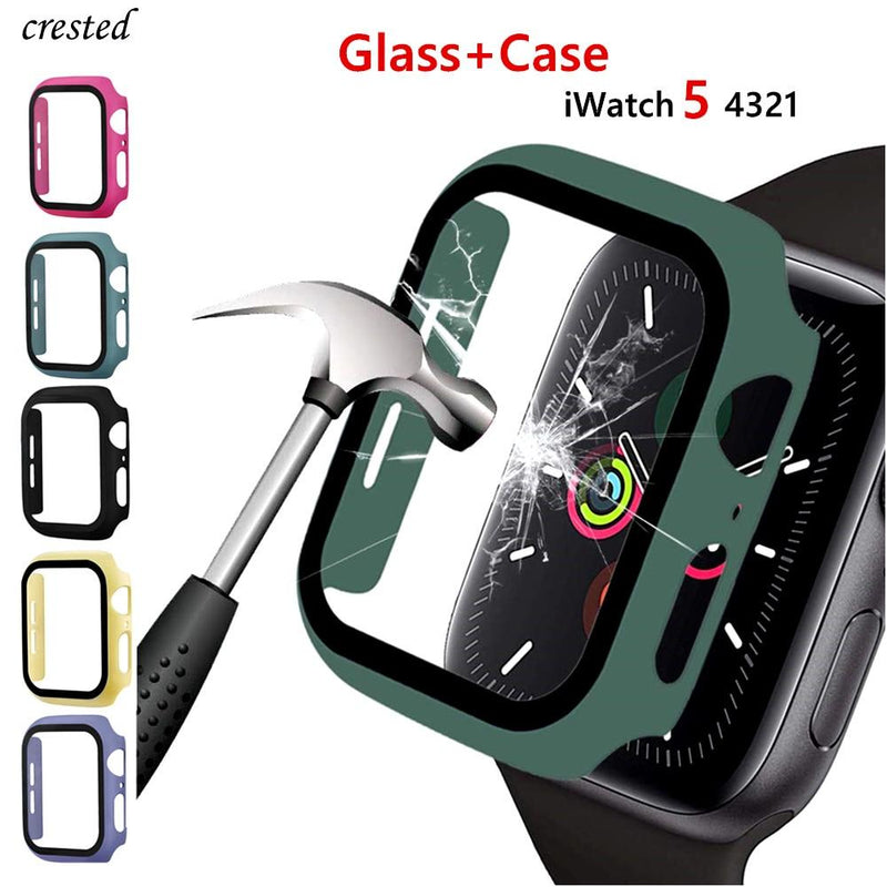 Glass+case For Apple Watch series 5 4 3 2 44mm 40mm 42mm 38mm Tempered bumper Screen Protector+cover for iWatch case Accessories - GoJohnny437