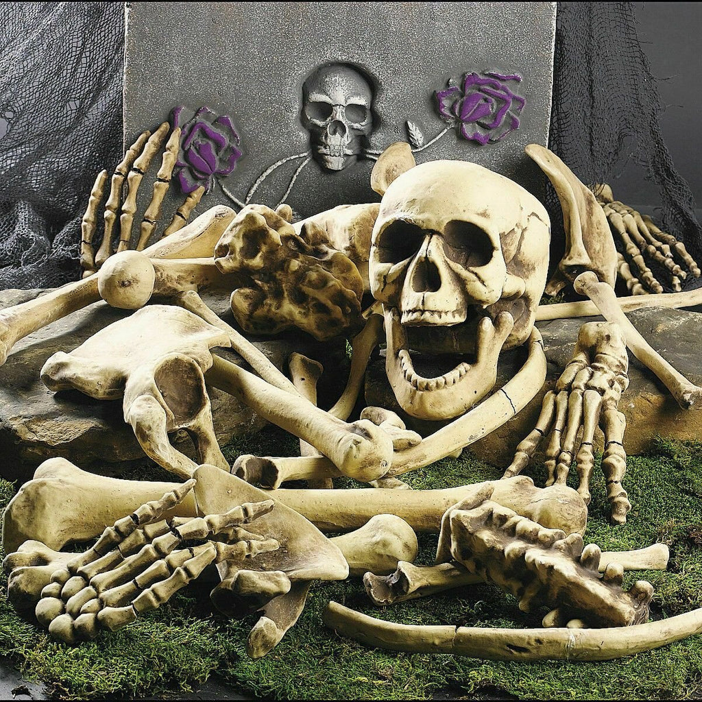 Halloween Skeleton Bones 28 pieces Halloween Prop Skeleton Skull Haunted House Horror prop Party Decorations Tricky Bones Skull - GoJohnny437
