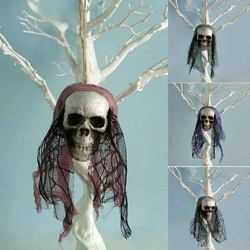 Halloween Skull Hanging Ornaments Foam Skull Bride Clothes Bone Head Scene Layout Props Home Decorations Festival Party Supplies - GoJohnny437