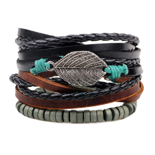 Handmade Weave Vintage Boho Gypsy Hippie Cuff Beads Leather Infinity Charm Male Men Bracelets Women Female Jewelry - GoJohnny437
