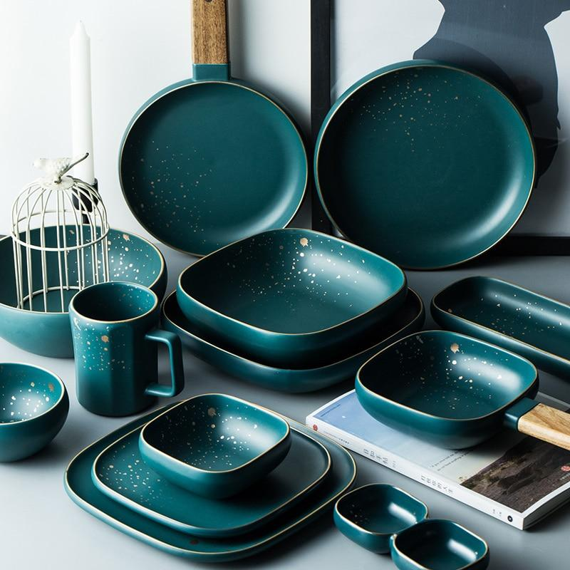High Fashion Retro Green Nordic Ceramic Tableware Set Dinnerware Set Bowl Plate Soup Bowl Set Modern Style High-end - GoJohnny437