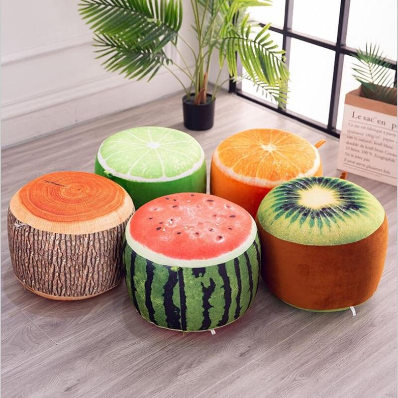 Inflatable Stool thickening Cotton Cover Cartoon Plush 3D fruit inflatable Pouf Chair Lovely Pneumatic Stools Portable - GoJohnny437