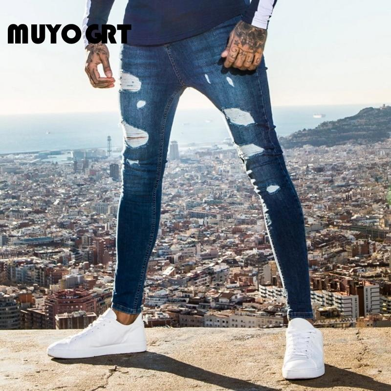 Jeans Man High Street Casual Feet Pants Fashion Men's Jeans Slim Tight Hole Denim Street Hip Hop Pants 2020 Fashion - GoJohnny437