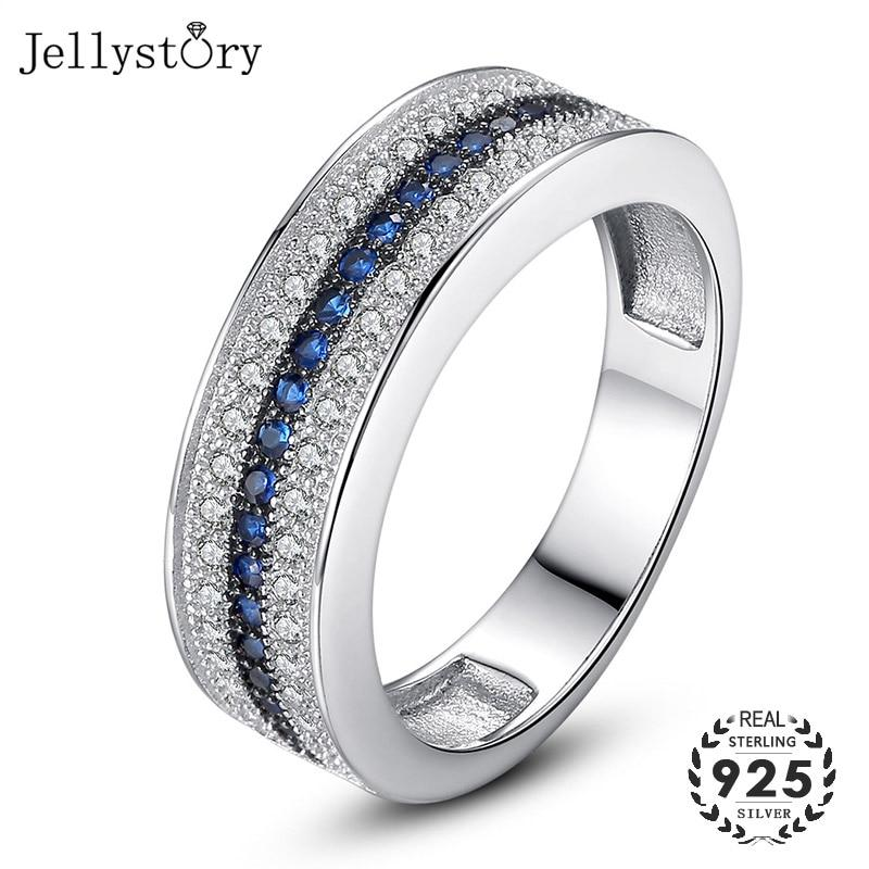 Jellystory 925 Sterling Silver Ring with Round Sapphire Zircon Gemstone Fine Jewelry ring for Women Wedding Party Gift wholesale - GoJohnny437