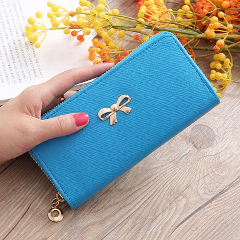 Ladies Cute Bowknot Women Long Wallet Portable Clutch Bag 2020 New Purse Phone Card Holder Bag Wallet - GoJohnny437