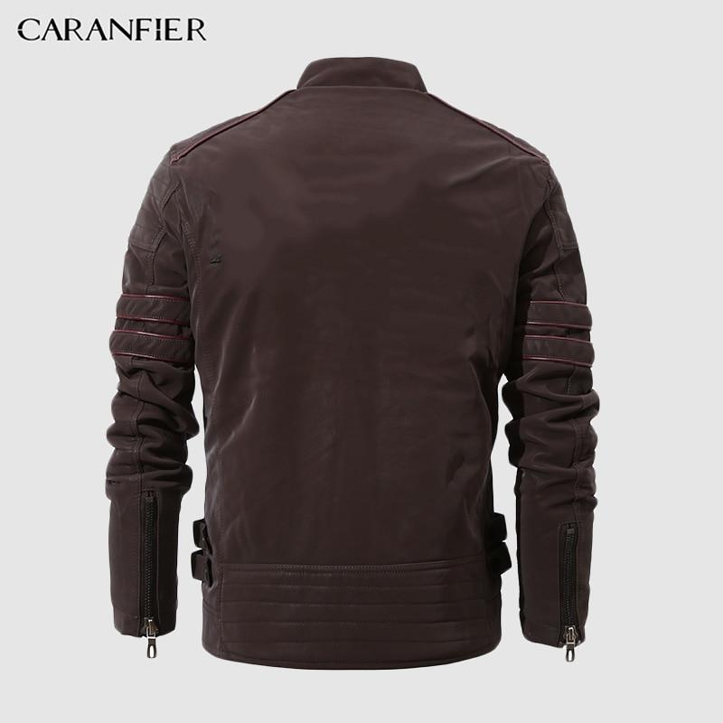Leather Jacket Men Stand Collar Motorcycle Washed Retro Velour Leather Jacket Mens Coats - GoJohnny437