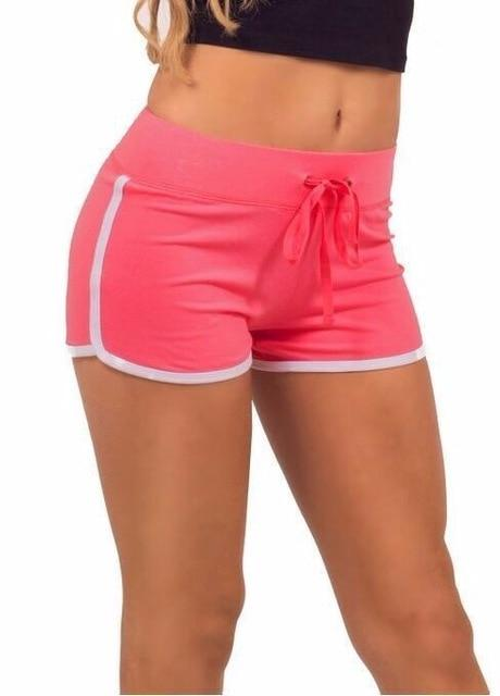 Leisure Women Shorts Contrast Binding Side Split Elastic Waist Loose Casual Shorts Short - GoJohnny437