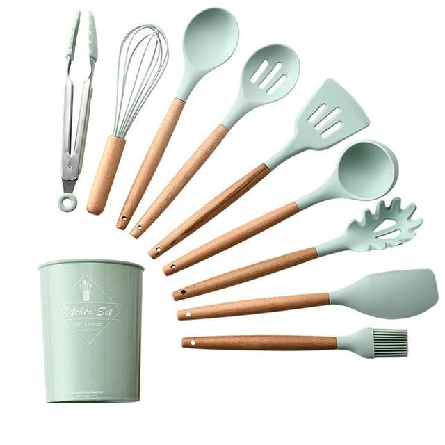 Light Green Silicone Cooking Utensils Set Non-stick Spatula Shovel Wooden Handle Cooking Tools Set with Storage Box Kitchen Tool - GoJohnny437