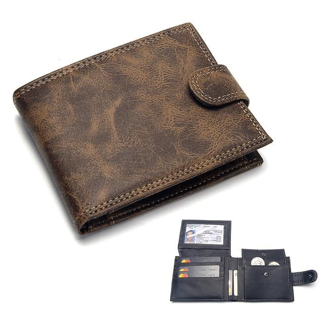 Luxury Men's Wallet Leather Solid Slim Wallets Men Pu Leather Bifold Short Credit Card Holders Coin Purses Business Purse Male - GoJohnny437