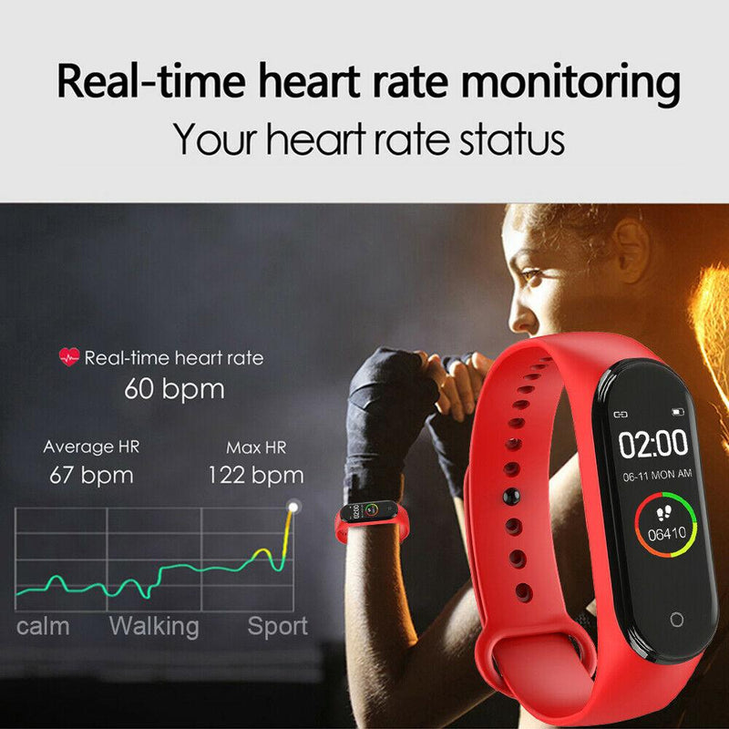 M4 Smart Sports Blood Pressure Heart Rate Monitor With Watch Men And Women Monitor Multi-Function Waterproof Bracelet - GoJohnny437