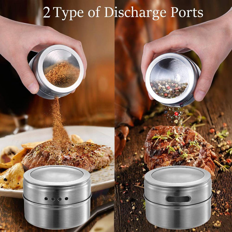 Magnetic Spice Jars With Wall Mounted Rack Stainless Steel Spice Tins Spice Seasoning Containers With Spice Label - GoJohnny437
