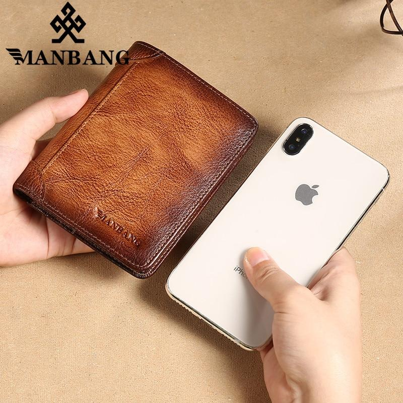 ManBang 2020 New 100% Genuine Leather Men Wallet Small Mini Card Holder Male Walet Pocket Retro purse High quatily - GoJohnny437