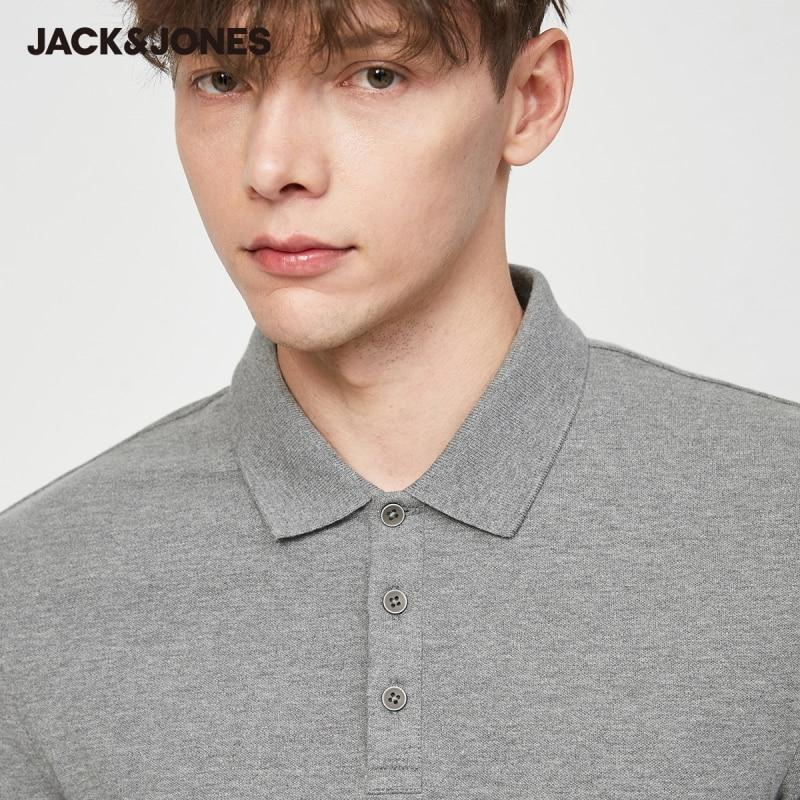 Men's Basic Solid Color Cotton Turn-down Collar Polo Shirt JackJones Menswear - GoJohnny437