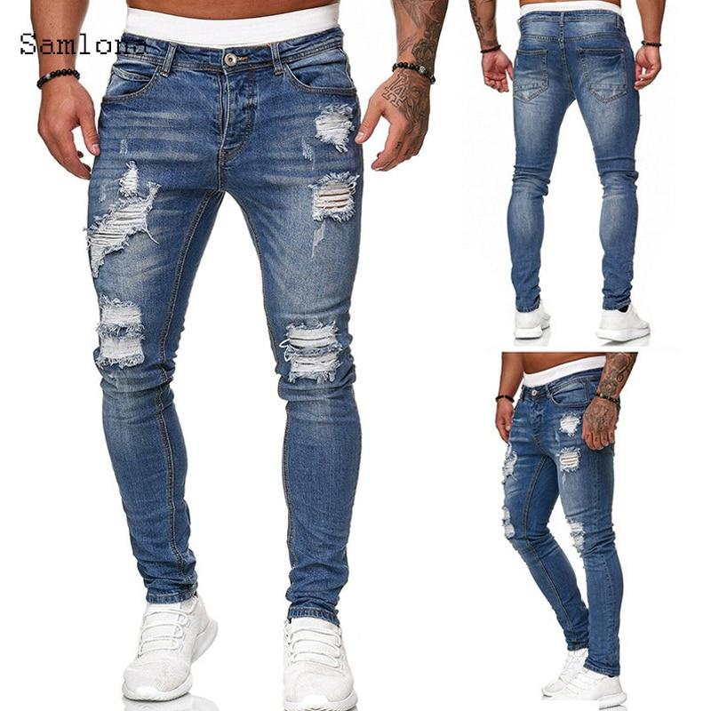 Mens Fashion Skinny Denim Pant Male 2020 Hole Ripped Pants Streetwear Male Denim Jeans Blue Grey Pencil Trousers - GoJohnny437