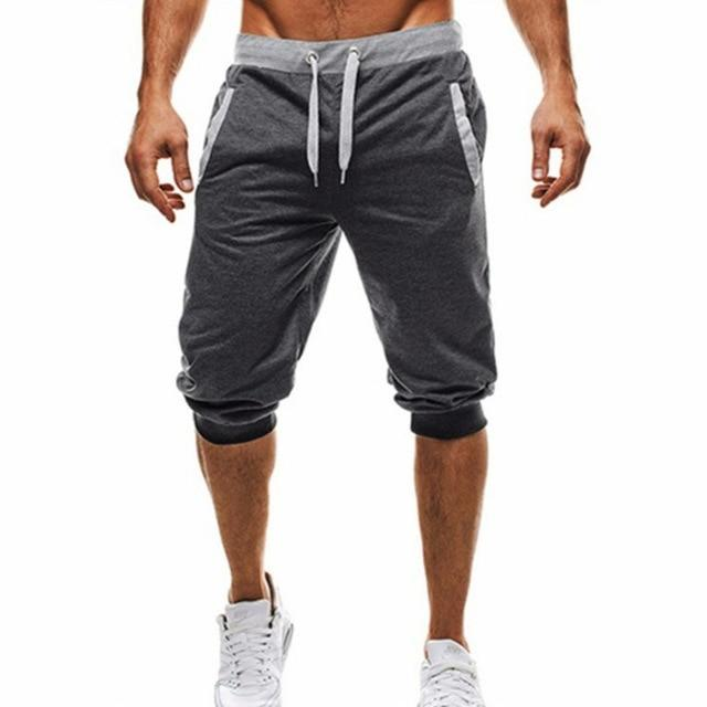 Mens Hot Sale Summer Leisure Knee Length Shorts Color Patchwork Joggers Short Sweatpants Trousers - GoJohnny437