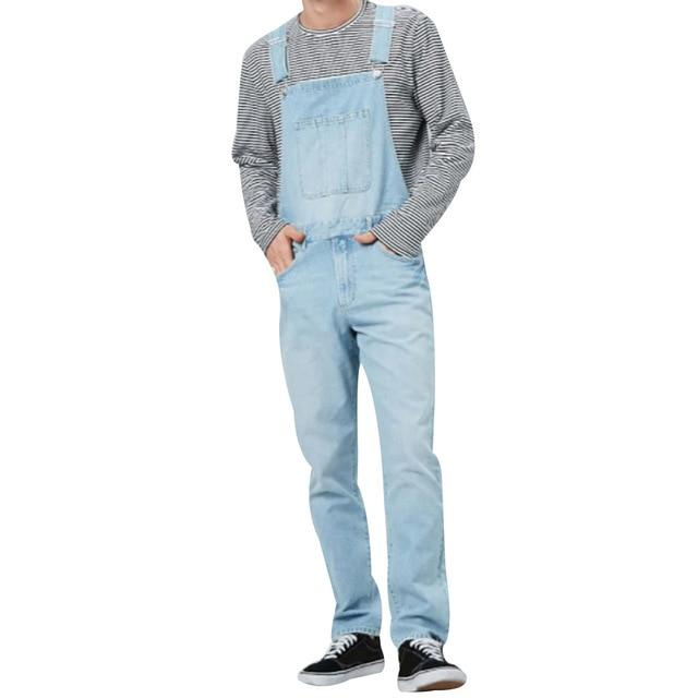Men's Jeans Overalls High Street Straight Denim Jumpsuits Hip Hop Men Cargo Pants Cowboy Male Jean - GoJohnny437