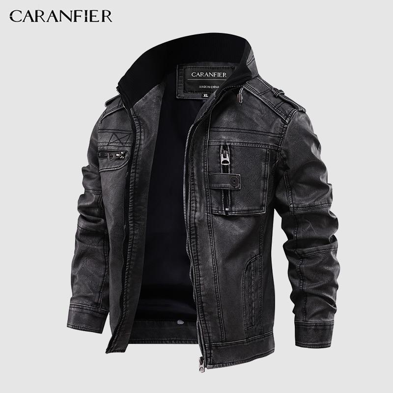 Mens Leather Jackets Motorcycle Stand Collar Zipper Pockets Male US Coats Biker Faux Leather Fashion Outerwear - GoJohnny437