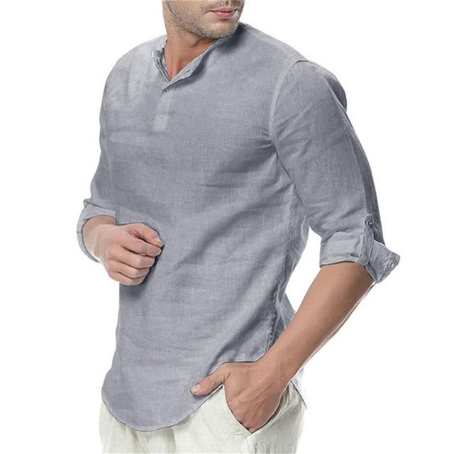 Men's Long Sleeve Shirts Cotton Linen Casual Breathable Comfortable Shirt Fashion Style Solid Male Loose Shirts - GoJohnny437