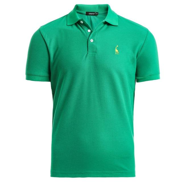 Mens Polo Shirt Casual Deer Embroidery Cotton Polo shirt Men Short Sleeve - GoJohnny437
