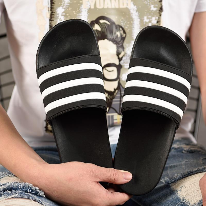 Men's Slippers EVA Men Shoes Women Couple Flip Flops Soft Black and White Stripes Casual Summer Male - GoJohnny437