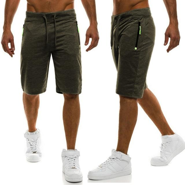 Mens Solid Shorts Casual Male Hot Sale Zipper Cargo Shorts Knee Length Mens Summer Short Pants - GoJohnny437
