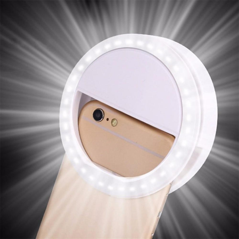 Mobile Phone Light Clip Selfie LED Auto Flash For Cell Phone Smartphone Round Portable Selfie Flashlight Makeup Mirror - GoJohnny437