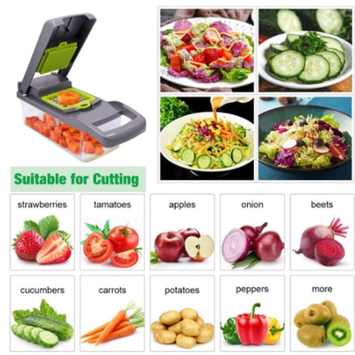 Multifunctional Manual Vegetable Cutter 7Dicing Blades Mandoline Slicer Cheese Carrot Grater Potato Peeler Kitchen Accessories - GoJohnny437