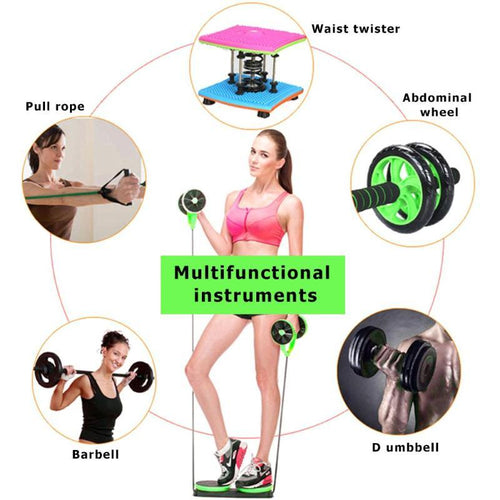 Muscle Exercise Equipment Home Fitness Equipment Double Wheel Abdominal Power Wheel Ab Roller Gym Roller Trainer Training - GoJohnny437