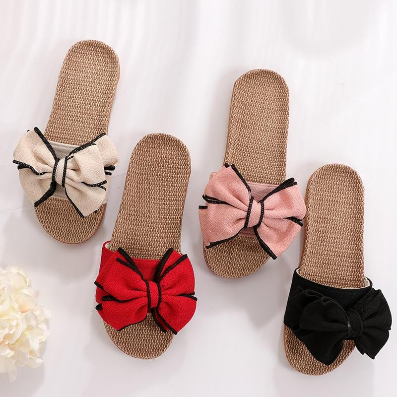 New Casual Sneakers For Home Slippers Summer Bow-knot Soft Floor Woman Indoor Flats Shoes Cute Linen Slipper - GoJohnny437