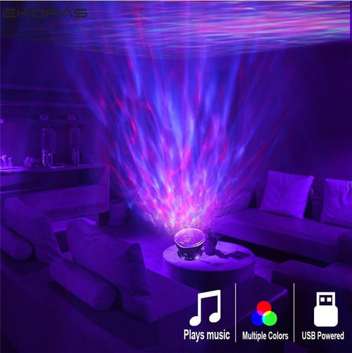 Ocean Wave Projector LED Night Light Built In Music Player Remote Control 7 Light Cosmos Star Luminaria For kid Bedroom - GoJohnny437