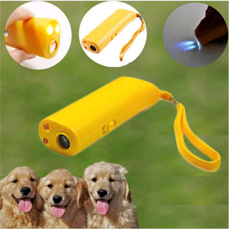 Pet Dog Repeller Anti Barking Stop Bark Training Device Trainer LED Ultrasonic 3 in 1 Anti Barking Ultrasonic Without Battery - GoJohnny437