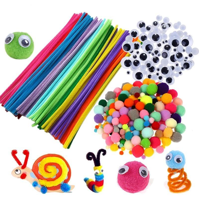Plush Stick / Pompoms Rainbow Colors Shilly-Stick Educational DIY Toys Handmade Art Craft Creativity Devoloping Toys - GoJohnny437