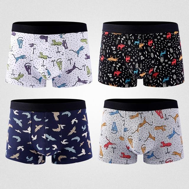 Printed Shorts Men Underwear Breathable Shorts Solid Flexible Underpants Fashion Shorts Cotton Cuecas - GoJohnny437