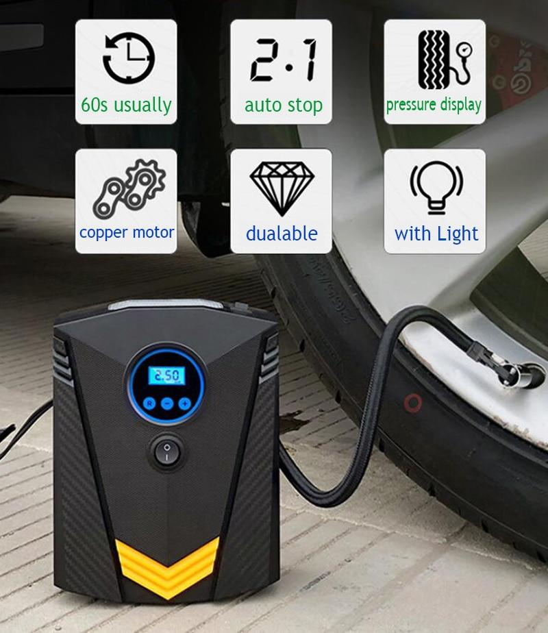 Professional Car Tyre Inflator 12V Digital Tire Inflatable Pump illumination Auto Air Compressor for Cars Wheel Tires Electric - GoJohnny437