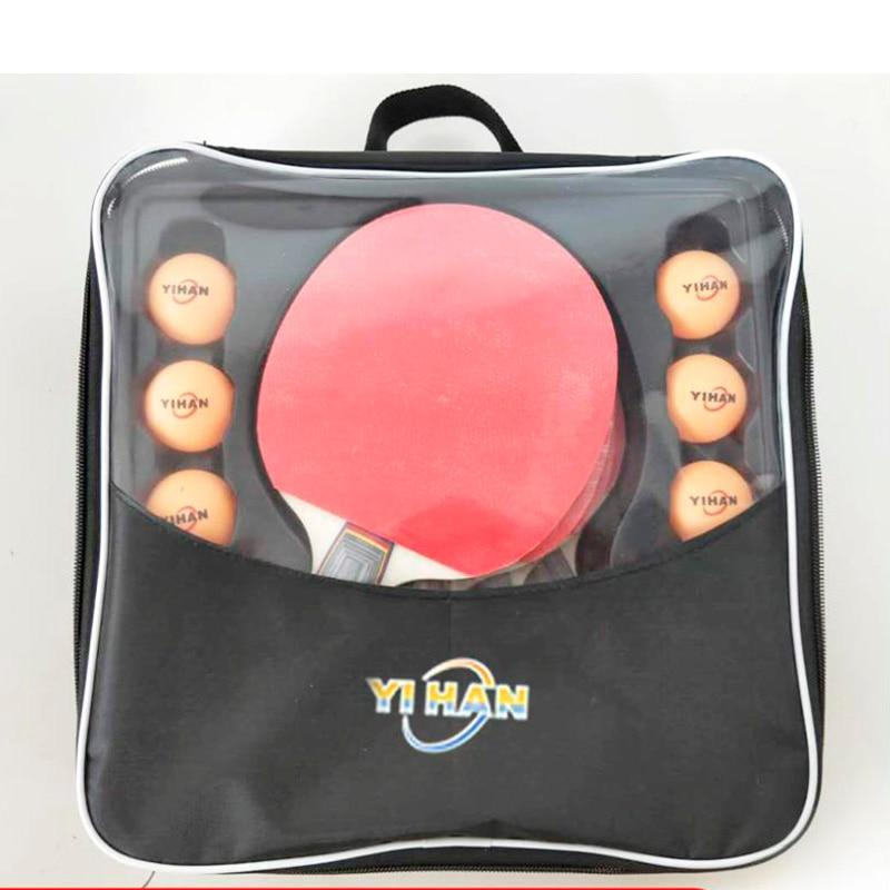 Professional Double-sided rubber Table Tennis Racket Set with 4 paddles + 6 balls,Carbon ping pong bat, - GoJohnny437