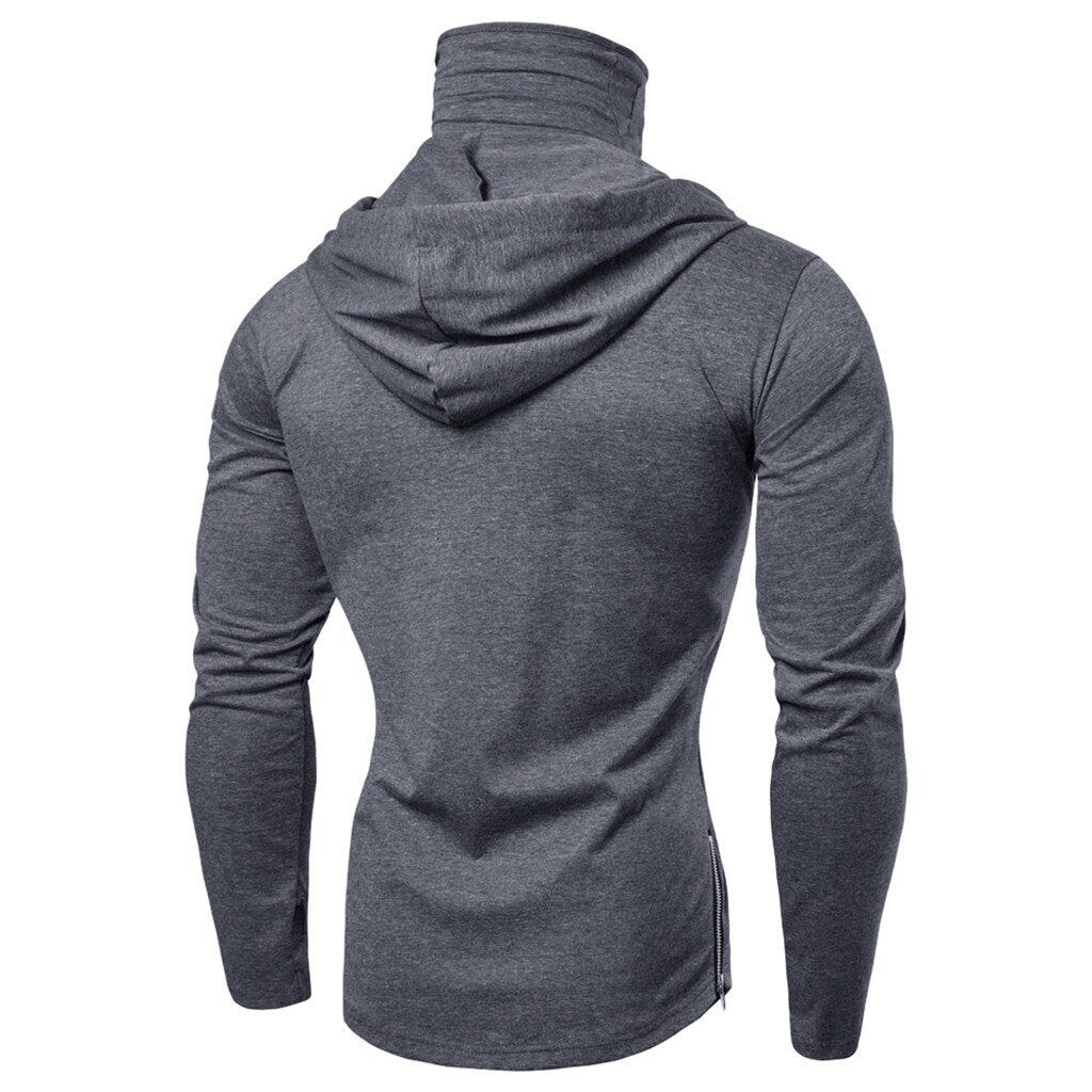 Pure color slim Mens Hoodies Mask Button Sports Hooded Splice Large Open-Forked Male Long Sleeve Shirts Pullovers Tops - GoJohnny437